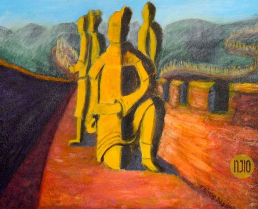 Terracottaleger op de Muur